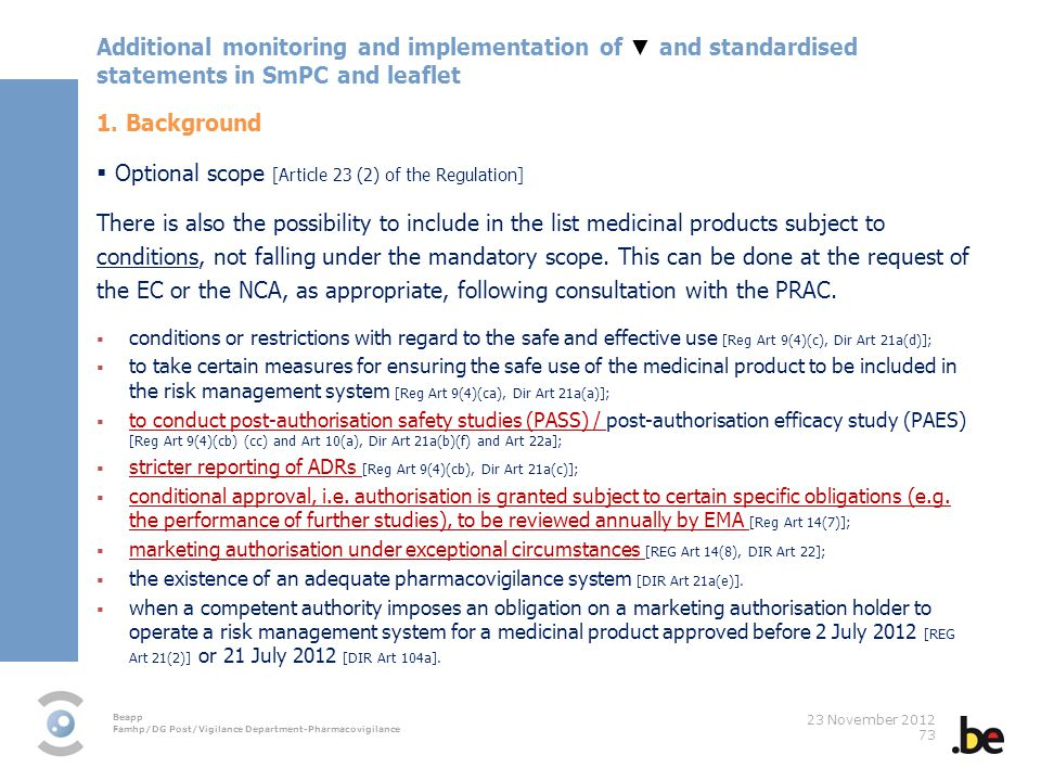 Optional scope [Article 23 (2) of the Regulation]